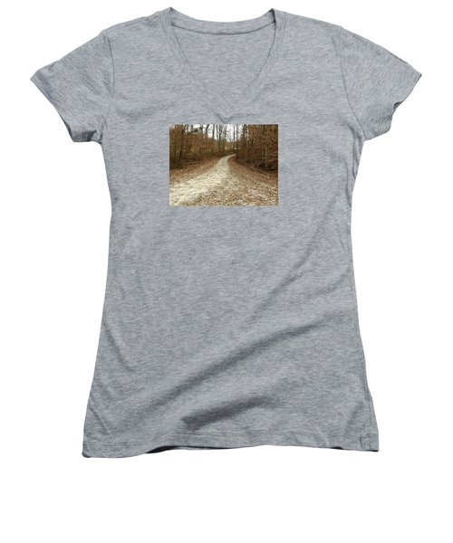 Somewhere Down The Road Women's V-Neck T-Shirt (Junior Cut) by Russell Keating