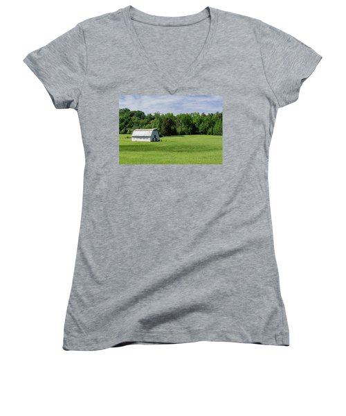Barn In Green Pasture Women's V-Neck (Athletic Fit)