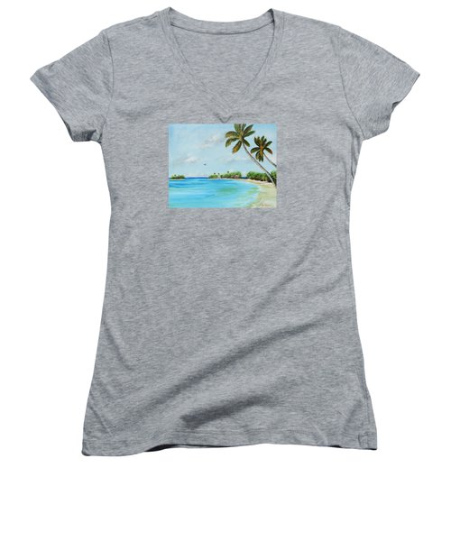 Somewhere In Paradise Women's V-Neck T-Shirt (Junior Cut) by Lloyd Dobson