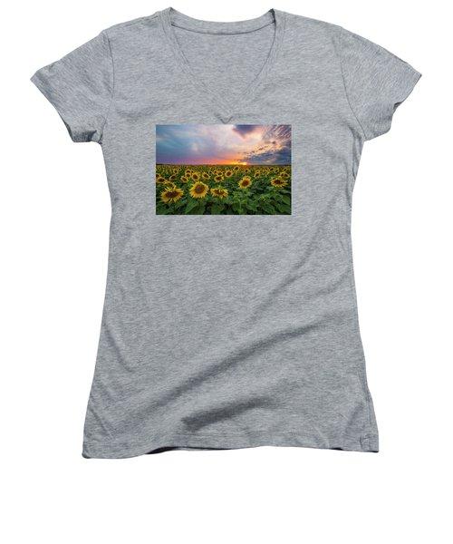 Somewhere Sunny  Women's V-Neck T-Shirt (Junior Cut) by Aaron J Groen