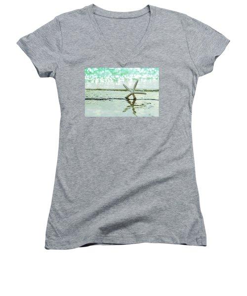 Somewhere You Feel Free Women's V-Neck T-Shirt (Junior Cut) by Laura Fasulo