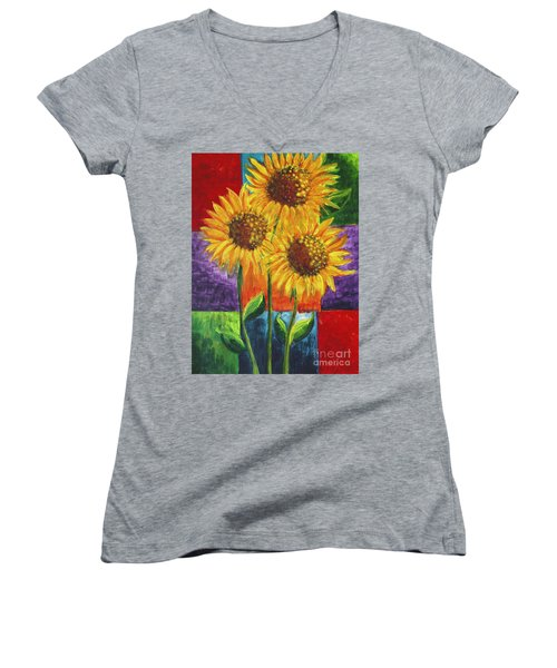 Women's V-Neck T-Shirt (Junior Cut) featuring the painting Sonflowers I by Holly Carmichael