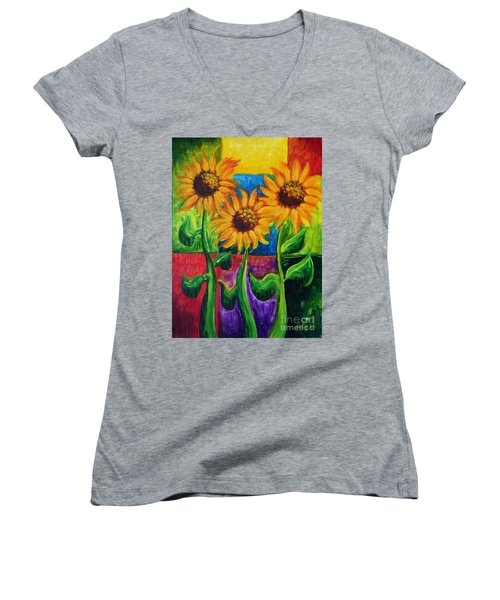 Women's V-Neck T-Shirt (Junior Cut) featuring the painting Sonflowers II by Holly Carmichael