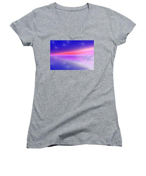 Song Of Night Sea Women's V-Neck T-Shirt (Junior Cut) by Dr Loifer Vladimir