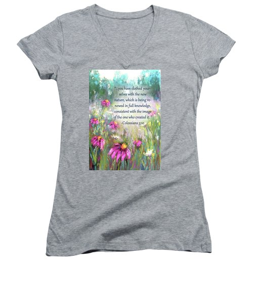 Song Of The Flowers With Bible Verse Women's V-Neck
