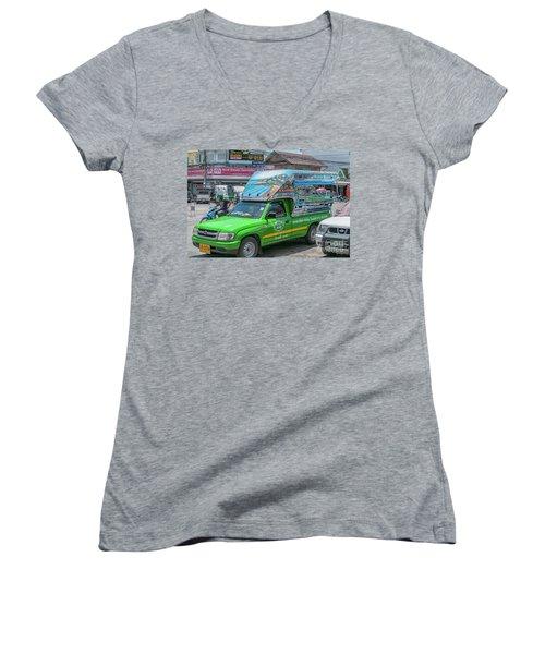 Women's V-Neck T-Shirt (Junior Cut) featuring the photograph Songthaew Minibus by Antony McAulay
