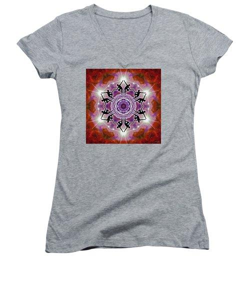 Women's V-Neck T-Shirt featuring the digital art Sonic Galaxies by Derek Gedney
