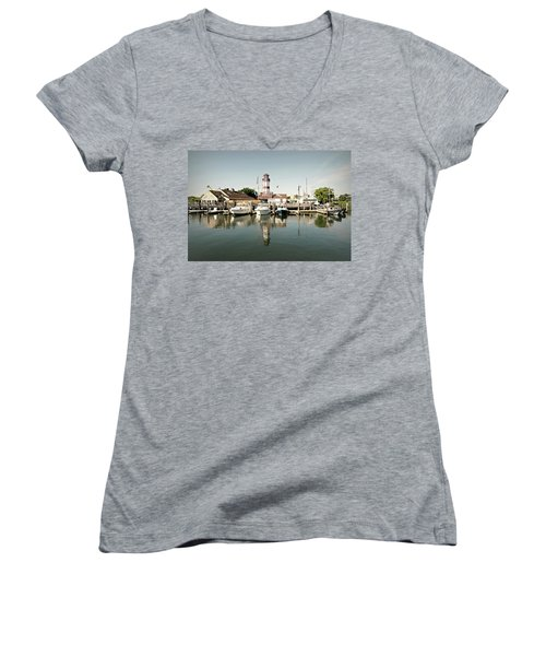 Sono Seaport Women's V-Neck T-Shirt (Junior Cut) by Diana Angstadt