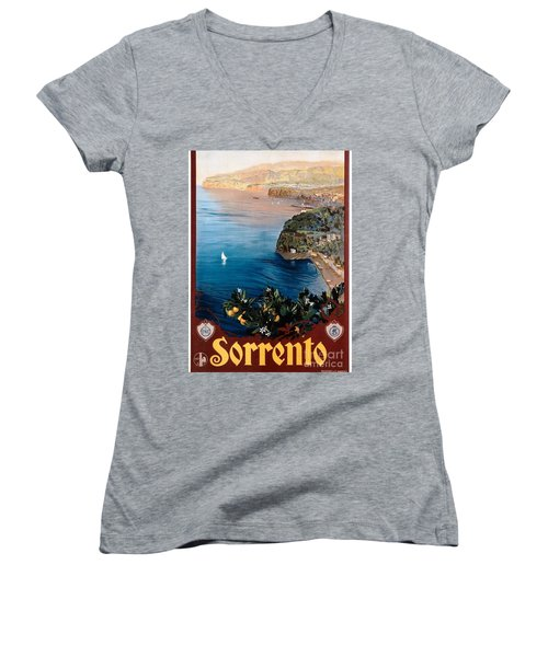 Women's V-Neck T-Shirt (Junior Cut) featuring the painting Sorrento - Poster by Pg Reproductions