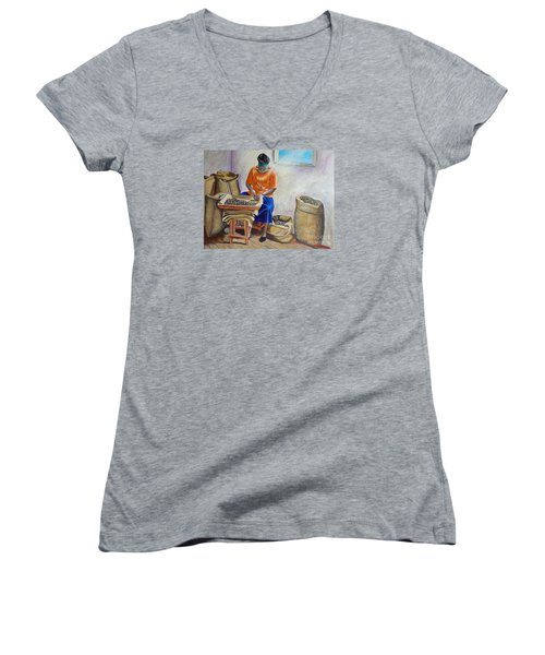 Sorting Nutmegs Women's V-Neck T-Shirt (Junior Cut) by Laura Forde