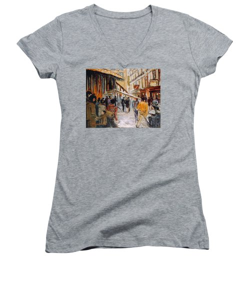 Women's V-Neck T-Shirt (Junior Cut) featuring the painting Souk De Buci by Walter Casaravilla