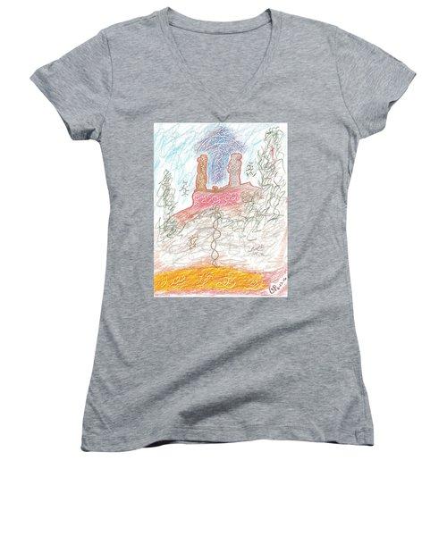 Soul Mates Women's V-Neck T-Shirt (Junior Cut) by Mark David Gerson