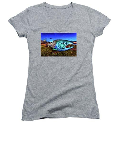 Soul Salmon During Blue Hour Women's V-Neck T-Shirt (Junior Cut) by Rob Green