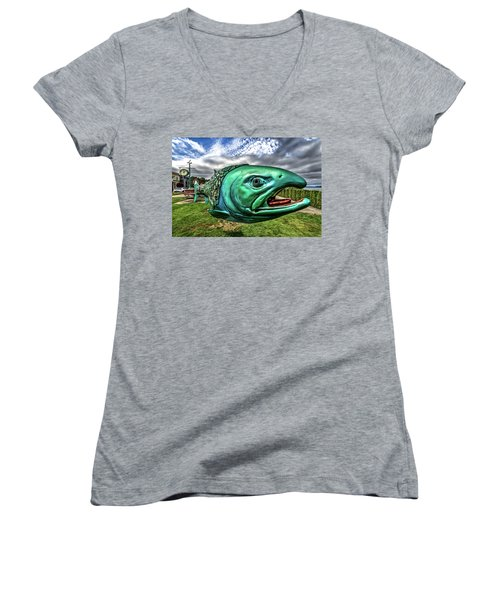 Soul Salmon In Hdr Women's V-Neck T-Shirt (Junior Cut) by Rob Green