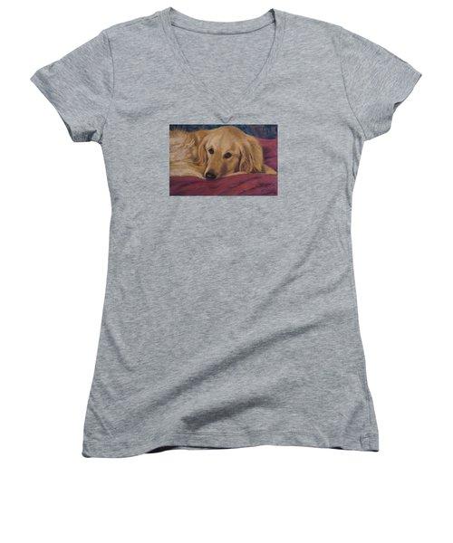 Soulfull Eyes Women's V-Neck T-Shirt (Junior Cut) by Billie Colson