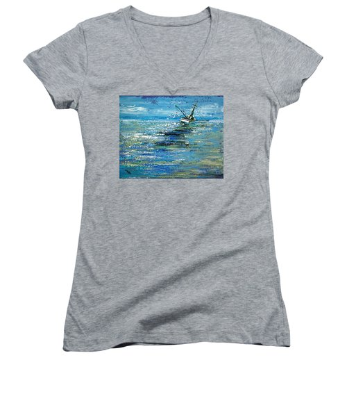 Women's V-Neck T-Shirt (Junior Cut) featuring the painting Soups On by Suzanne McKee