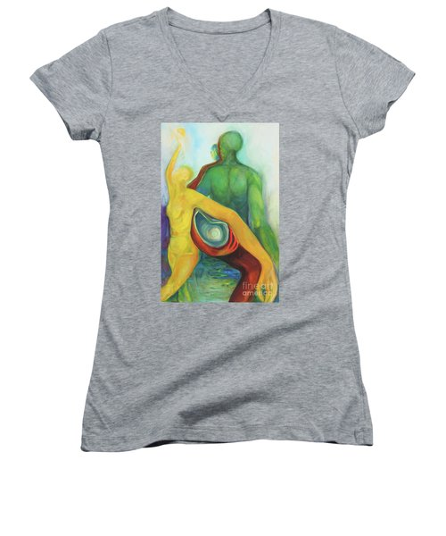 Women's V-Neck T-Shirt (Junior Cut) featuring the painting Source Keepers by Daun Soden-Greene