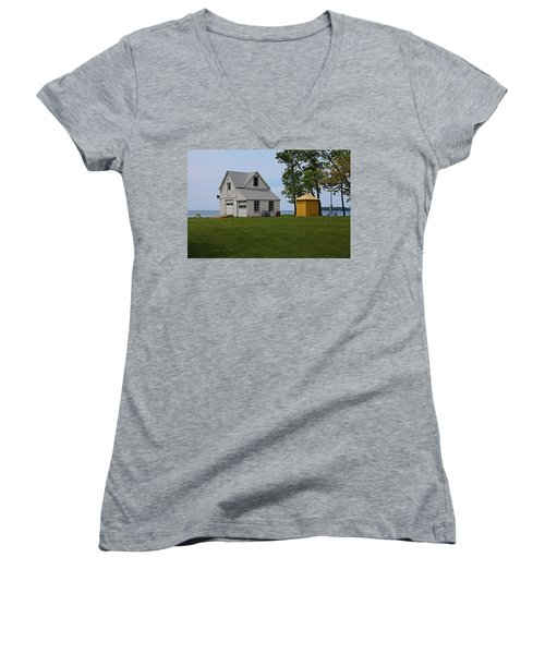 South Bass Island Lighthouse Barn And Oil Storage Building I Women's V-Neck T-Shirt (Junior Cut) by Michiale Schneider