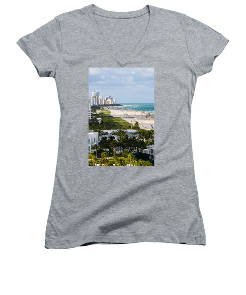 South Beach Late Afternoon Women's V-Neck T-Shirt (Junior Cut) by Ed Gleichman