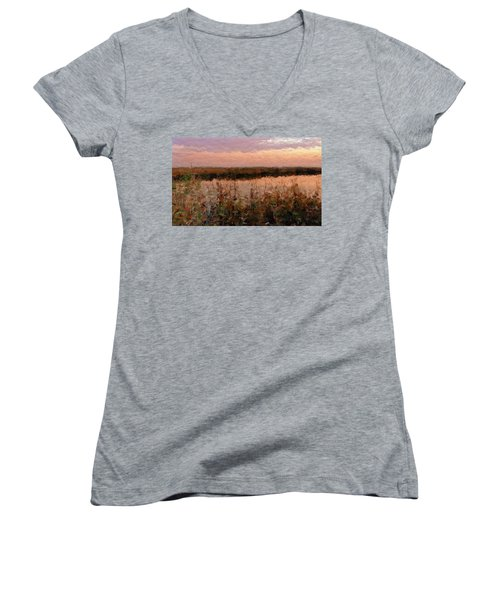 Women's V-Neck T-Shirt (Junior Cut) featuring the digital art South Carolina Evening Marsh by Anthony Fishburne