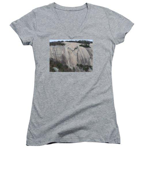 South Face - Stone Mountain Women's V-Neck T-Shirt (Junior Cut) by Joel Deutsch