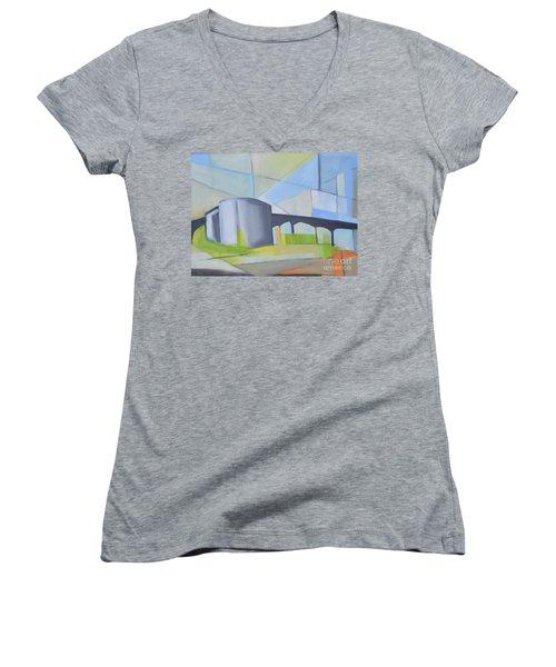 South Hackensack Tanks Women's V-Neck T-Shirt (Junior Cut) by Ron Erickson