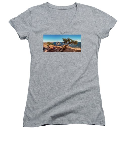 Women's V-Neck T-Shirt (Junior Cut) featuring the photograph South Kaibab Grand Canyon by Phil Abrams