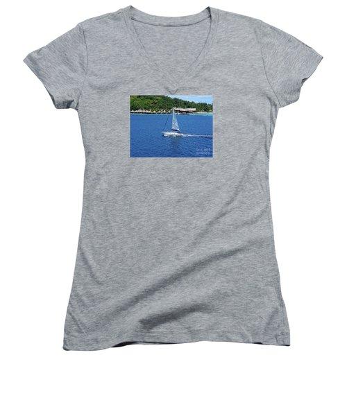 Women's V-Neck T-Shirt (Junior Cut) featuring the photograph South Sea Sail by Phyllis Kaltenbach