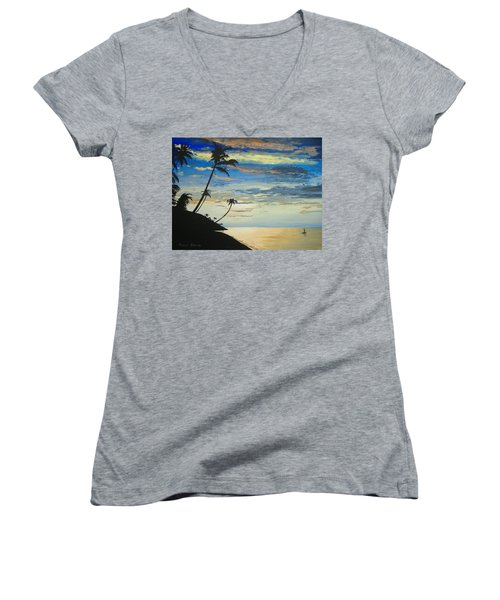 Women's V-Neck T-Shirt (Junior Cut) featuring the painting South Sea Sunset by Norm Starks