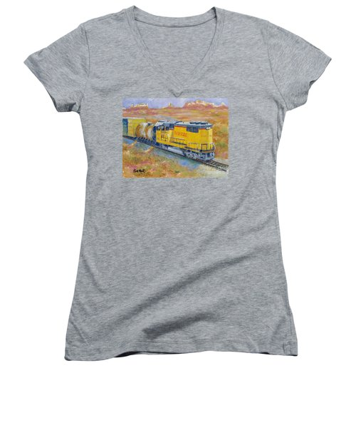 South West Union Pacific Women's V-Neck T-Shirt (Junior Cut) by William Reed