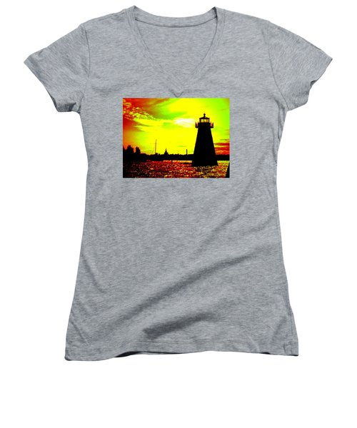 Southcoast Silhouette  Women's V-Neck T-Shirt (Junior Cut)