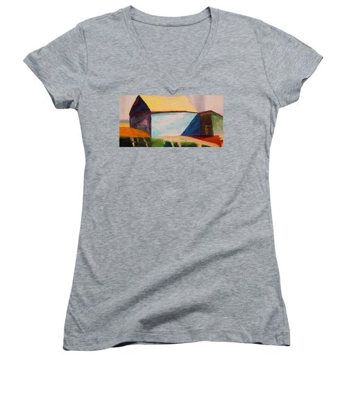 Women's V-Neck T-Shirt (Junior Cut) featuring the painting Southern Barn by John Williams