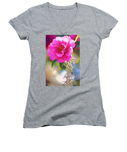 Women's V-Neck T-Shirt (Junior Cut) featuring the digital art Southern Rose by Donna Bentley