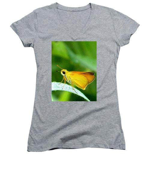 Southern Skipperling Butterfly 001  Women's V-Neck T-Shirt (Junior Cut) by Chris Mercer