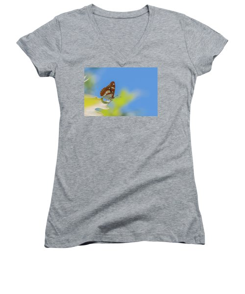 Southern White Admiral - Limenitis Reducta Women's V-Neck (Athletic Fit)