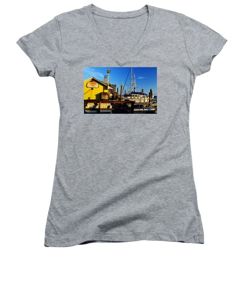 Southport Potters Seafood Pier Women's V-Neck T-Shirt