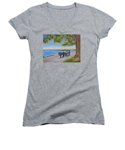 Southport Stroll Women's V-Neck T-Shirt (Junior Cut) by Shelia Kempf