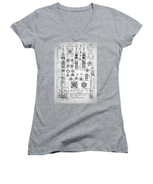 Soviet Rocket Schematics Women's V-Neck T-Shirt (Junior Cut) by Taylan Apukovska