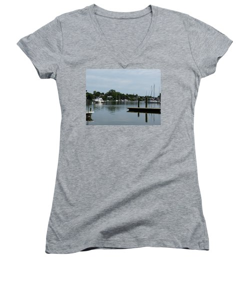 Women's V-Neck T-Shirt (Junior Cut) featuring the photograph Spa Creek From The Park  by Donald C Morgan