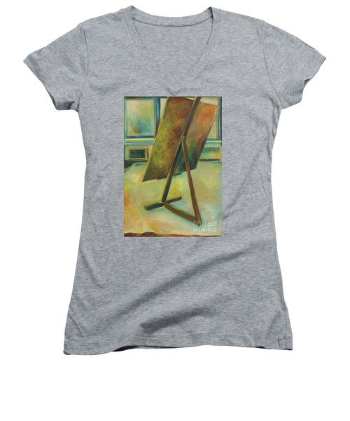 Women's V-Neck T-Shirt (Junior Cut) featuring the painting Space Filled And Empty by Daun Soden-Greene