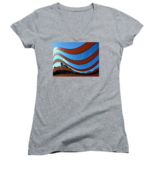 Space Geometry #8 Women's V-Neck T-Shirt (Junior Cut) by Alex Galkin