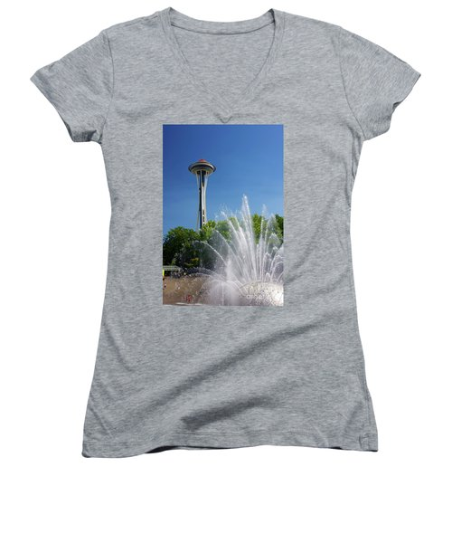 Space Needle In Seattle Women's V-Neck (Athletic Fit)