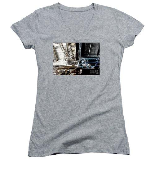 Women's V-Neck T-Shirt (Junior Cut) featuring the digital art Space Station by Marsha Heiken