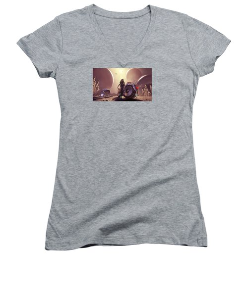 Women's V-Neck T-Shirt (Junior Cut) featuring the photograph Space The Final Frontier by Lawrence Christopher