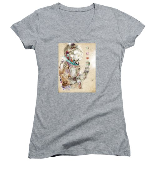 Women's V-Neck T-Shirt (Junior Cut) featuring the painting Spaceman by Bri B