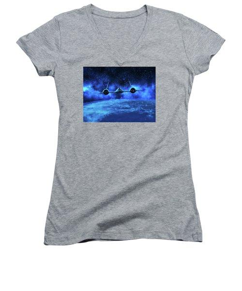 Spaceward Women's V-Neck T-Shirt (Junior Cut) by Dave Luebbert