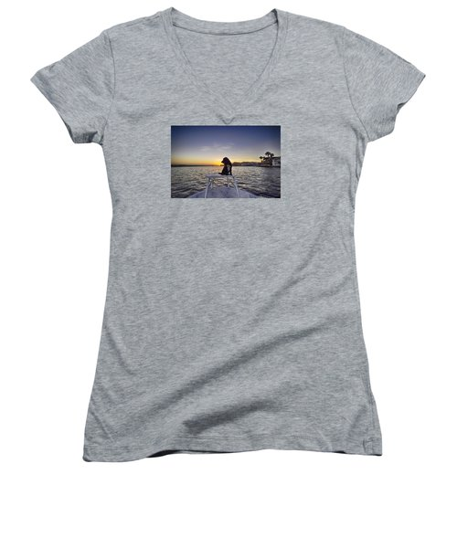 Spaniel At Sunset Women's V-Neck (Athletic Fit)
