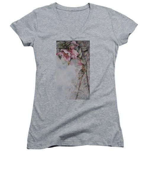 Spanish Camellias Women's V-Neck T-Shirt