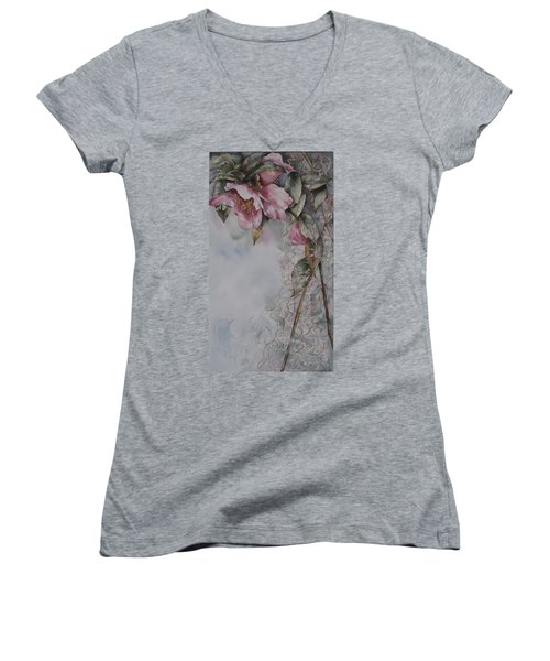 Spanish Camellias Women's V-Neck (Athletic Fit)