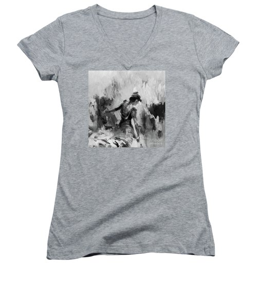 Women's V-Neck T-Shirt (Junior Cut) featuring the painting Spanish Dance 7734j by Gull G